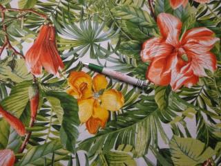 Digitálisan nyomott Loneta, zöld leveles, liliomos, kerti bútor vászon (9707)