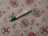 Loneta vászon, bézs alapon tojásos (9725)