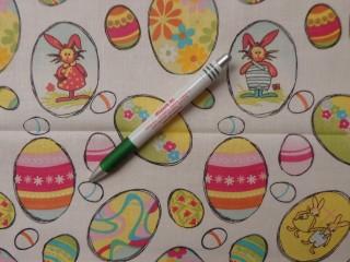 Mintás pamutvászon, fehér alapon pink-sárga tojásos (9728)