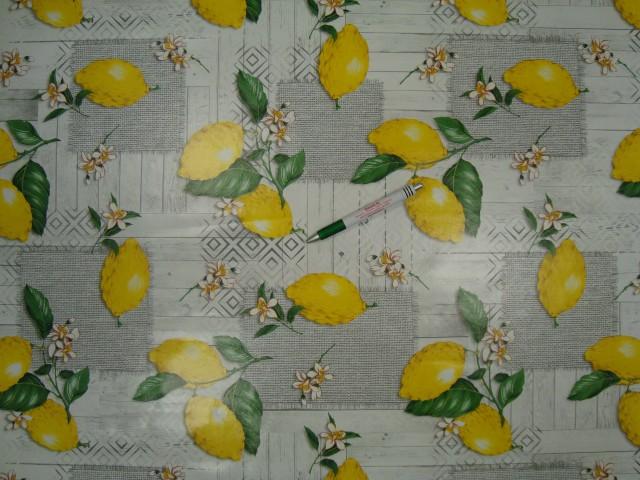 Viaszos vászon, szürke alapon citromos (9739)
