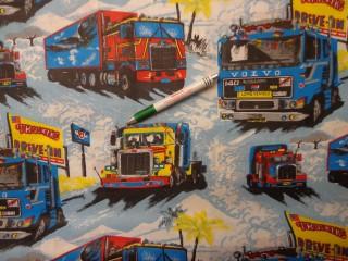 Gyerekmintás pamutvászon, kamionos, pálmafás (9759)