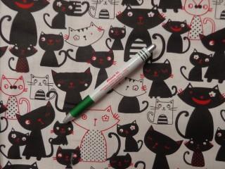 Gyerekmintás pamutvászon, fekete-fehér-piros cicás (9760)