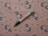 Gyerekmintás pamutvászon, rózsaszín alapon unikornis (9758)