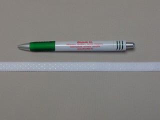 Melltartó gumi, fehér pöttyös, 12 mm széles (9774)