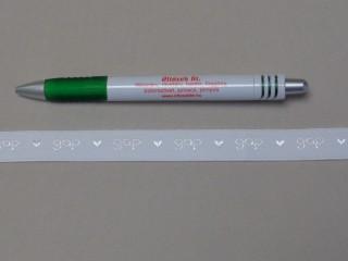 Melltartó gumi, fehér, feliratos ,15 mm széles (9778)