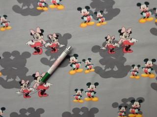 Sztreccs futter, szürke alapon Minnie és Mickey (9803)