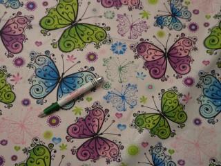 Gyerekmintás pamutvászon, színes, nagy pillangós (9827)