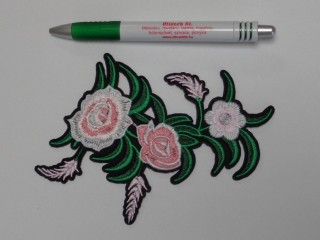 Vasalható folt, rózsaszín virágok levéllel (9879)