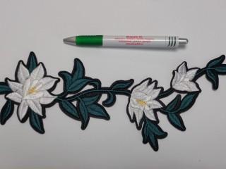 Vasalható folt, fehér virágok levéllel (9881)