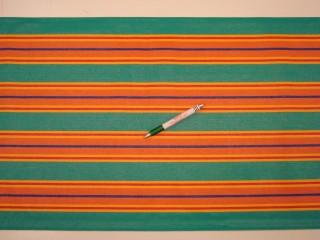 Nyugágyvászon, zöld-sárga-narancs-piros-kék csíkos, 45 cm széles (9898)