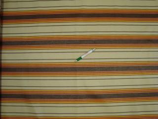 Nyugágyvászon, drapp-barna-sárga-narancs csíkos, 140 cm széles (9900)