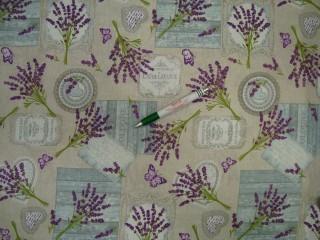 Vízlepergetős kerti bútor vászon, levendulás, pillangós (9921)