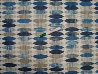 Vízlepergető asztalterítő -  kerti bútor vászon, kék-drapp ovál mintás (9922)