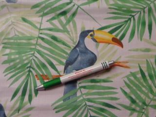 Mintás pamutvászon, fehér alapon leveles, tukán madárral (9994)