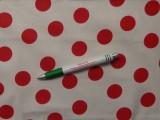 Mintás pamutvászon, fehér alapon piros nagy pöttyös (10017)