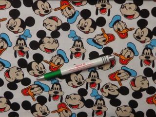 Sztreccs futter, fehér alapon, Mickey-Donald-Goofy (10022)