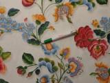 Digitálisan nyomott Loneta, hímzett hatású, virágos, kerti bútor vászon (10025)
