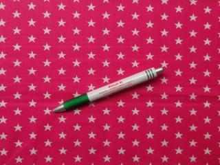 Mintás pamutvászon, pink alapon, fehér csillagos (10027)