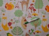 Gyerekmintás pamutvászon, fehér alapon erdő állatkái (10035)