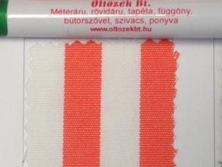 UV álló kültéri vászon, narancs-fehér csíkos (10060)
