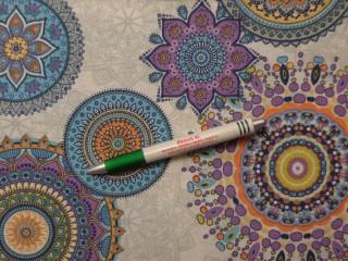 Loneta, lila-kék-narancs, mandalás kerti bútor vászon (10088)