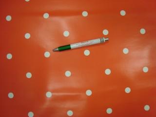 Viaszos vászon, piros alapon fehér ritka pöttyös (10097)