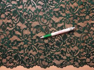 Rugalmas csipke, smaragd zöld, kisvirágos, slingelt (10112)
