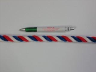 Táskafül kötél, sodrott, fehér-kék-piros (10122)