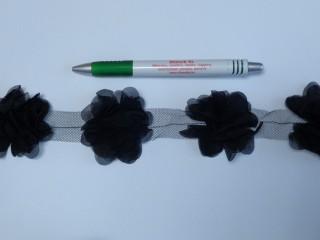 Tüll virág szalagon, fekete (10250)