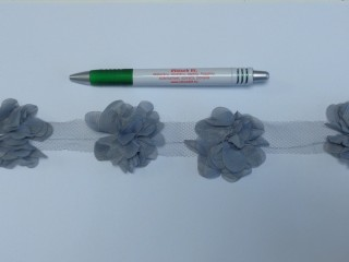 Tüll virág szalagon, hamuszürke (10251)