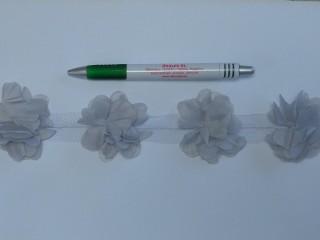 Tüll virág szalagon, világos szürke (10252)