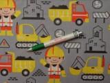 Gyerekmintás pamutvászon, szürke alapon munkagépes (10265)