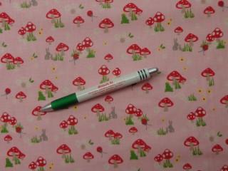 Gyerekmintás pamutvászon, rózsaszín alapon gombás (10300)