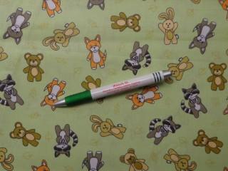 Gyerekmintás pamutvászon, zöld alapon kisállatok (10299)