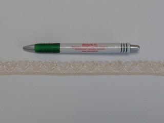 Rugalmas csipke, ekrü, 17 mm széles (10281)