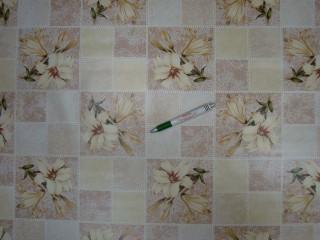 Viaszos vászon, világos barna kockás, liliom mintás (10306)