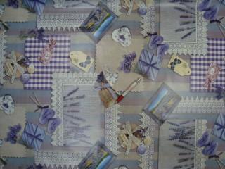Viaszos vászon, levendulás, patchwork mintás (10345)