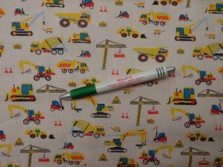 Gyerekmintás pamutvászon, törtfehér alapon munkagépes (10455)
