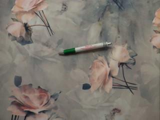 Barbi jersey, szürke alapon barack virágos (10421)
