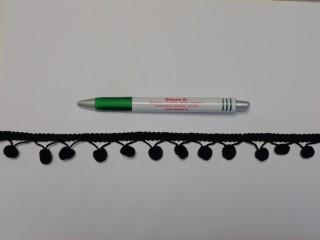 Paszomány bojtokkal, fekete (10433)