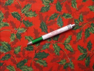 Karácsonyi mintás pamutvászon, piros alapon magyal mintás (10499)