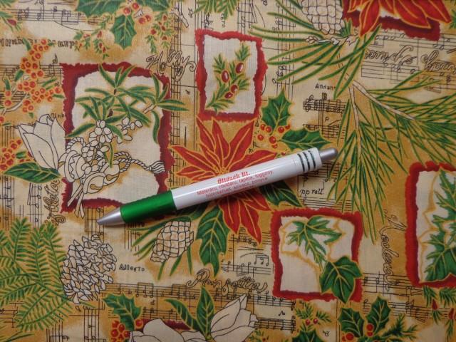 Karácsonyi pamutvászon, kottás, virágos, tobozos (10501)