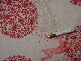 Loneta, karácsonyi vászon, csillagos, hópelyhes, rénszarvasos (10504)