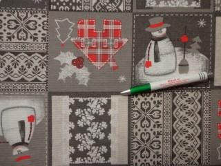 Loneta, karácsonyi vászon, szürke kockás, hóemberes (10506)