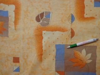 Mintás pamutvászon, narancsos-barnás őszi mintás (10520)