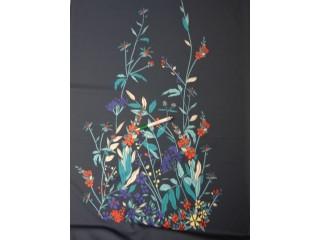 Barbi jersey, sötétkék alapon színes virágos, blokkos (10541)