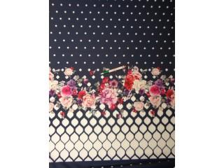 Barbi jersey, sötétkék alapon bordűrös virágos, blokkos (10542)