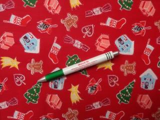 Karácsonyi pamutvászon piros alapon karácsonyi motívumok (10552)