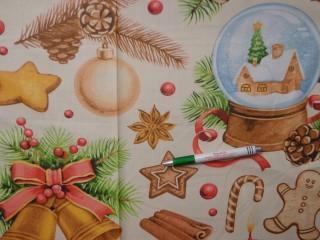 Karácsonyi mintás pamutvászon, vajsárga alapon díszek (10557)