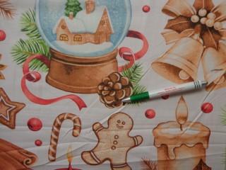 Karácsonyi mintás pamutvászon, fehér alapon karácsonyi díszek (10558)